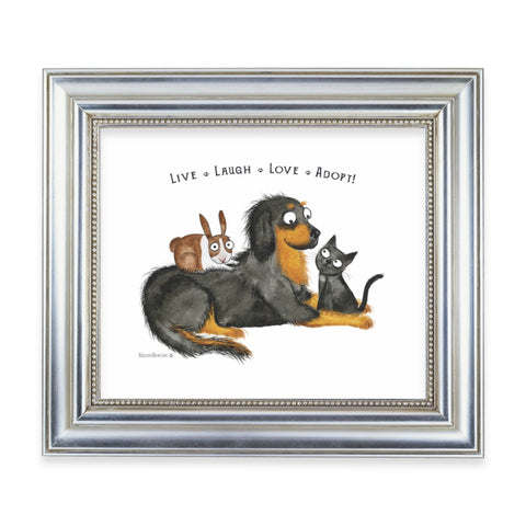 """Live Laugh Love Adopt"" Archival Giclée Print - Red and Howling"