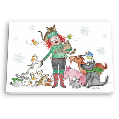 """Love All the Animals"" Holiday Card - Red and Howling"