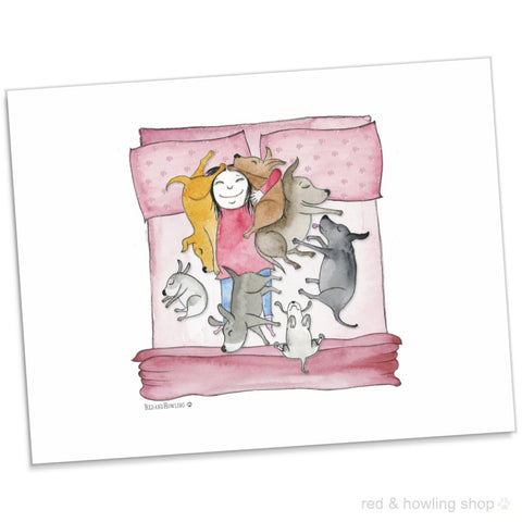 """Bedtime Cuddles"" Archival Giclée Print - Red and Howling"