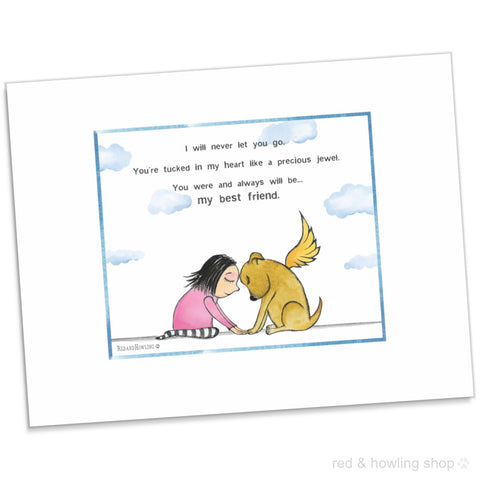 """My Best Friend"" (Dog) Archival Giclée Print - Red and Howling"