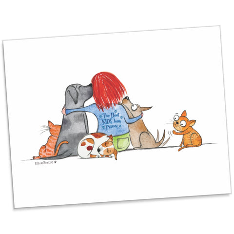 """The Best Kids Have Paws"" Archival Giclée Print - Red and Howling"