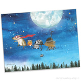 """Broom Ride With Friends"" Archival Giclée Print - Red and Howling"