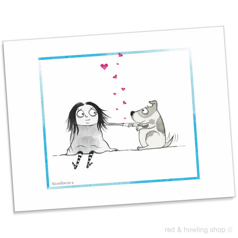 """Dog Love"" Archival Giclée Print - Red and Howling"