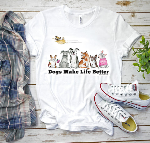 """Dogs Make Life Better"" T-Shirt - Red and Howling"