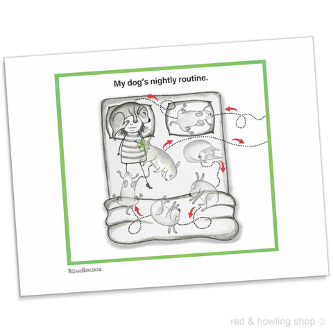 """My Dog's Nightly Routine"" Archival Giclée Print - Red and Howling"