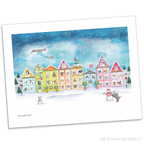 """The Best Neighborhood"" Holiday Archival Giclée Print - Red and Howling"