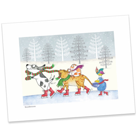 """Ice Skating"" Holiday Archival Giclée Print"