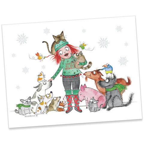 """Love All The Animals"" Holiday Archival Giclée Print - Red and Howling"