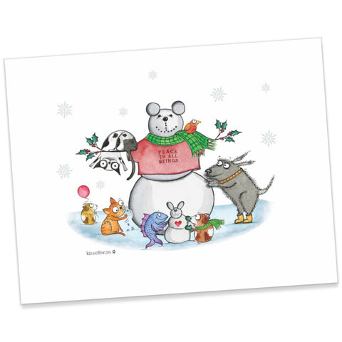 """Snow Animals"" Holiday Archival Giclée Print - Red and Howling"