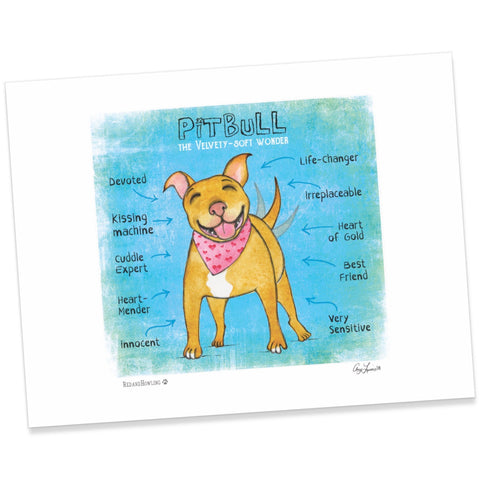 "DONATION Print: ""PitBull: The Velvety-Soft Wonder"" (Archival Giclée) - Red and Howling"