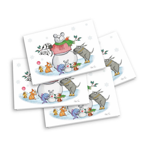 """Snow Animals"" Holiday Card - Red and Howling"