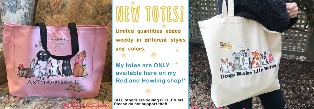 Red and Howling Stickers