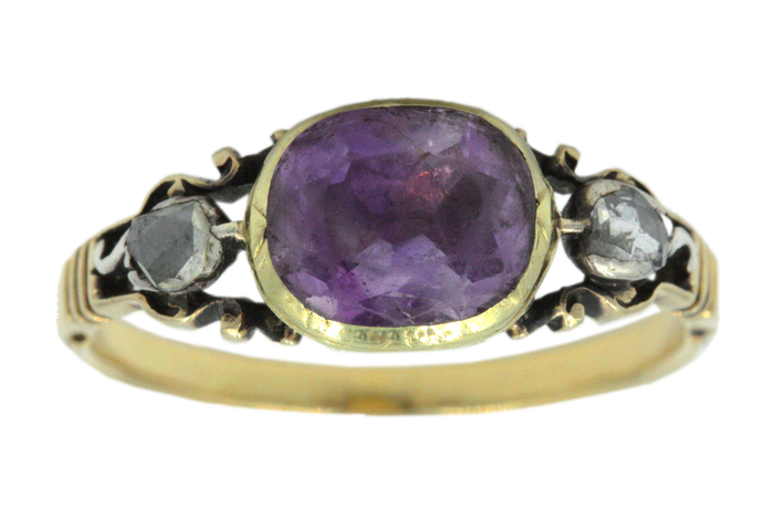 Georgian Amethyst & Diamond Ring