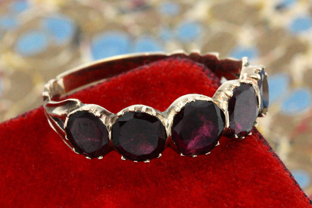 Georgian Five-Stone Half Hoop Garnet Ring