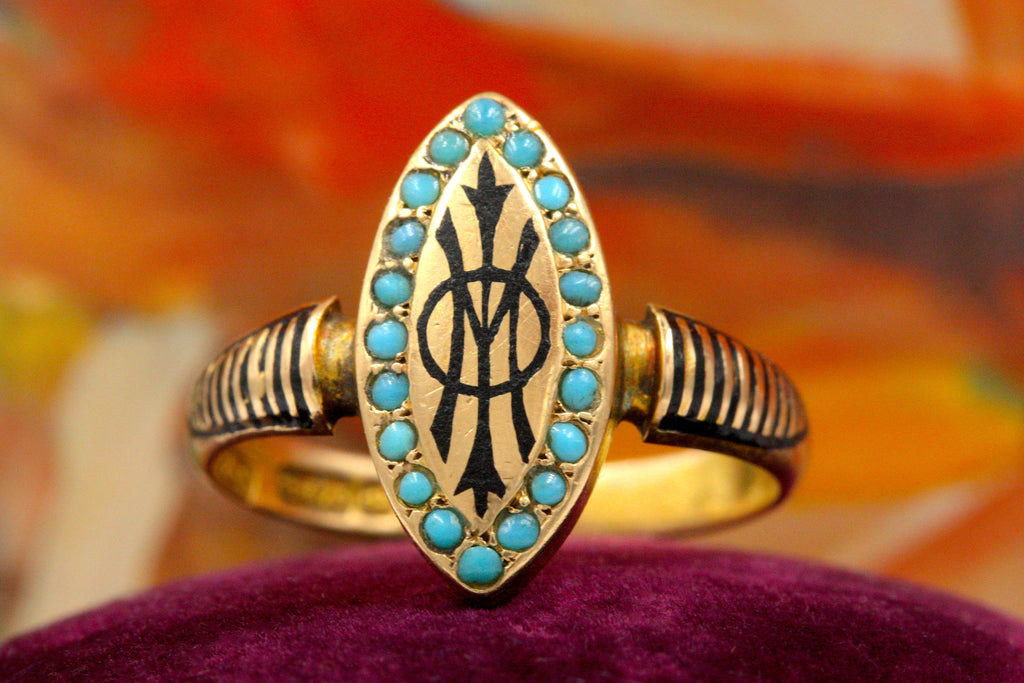 Victorian Mourning Enamel & Turquoise Ring