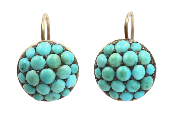 Victorian Turquoise Pave Earrings
