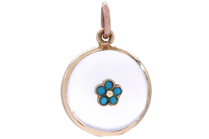 Victorian Forget-Me-Not Crystal Locket