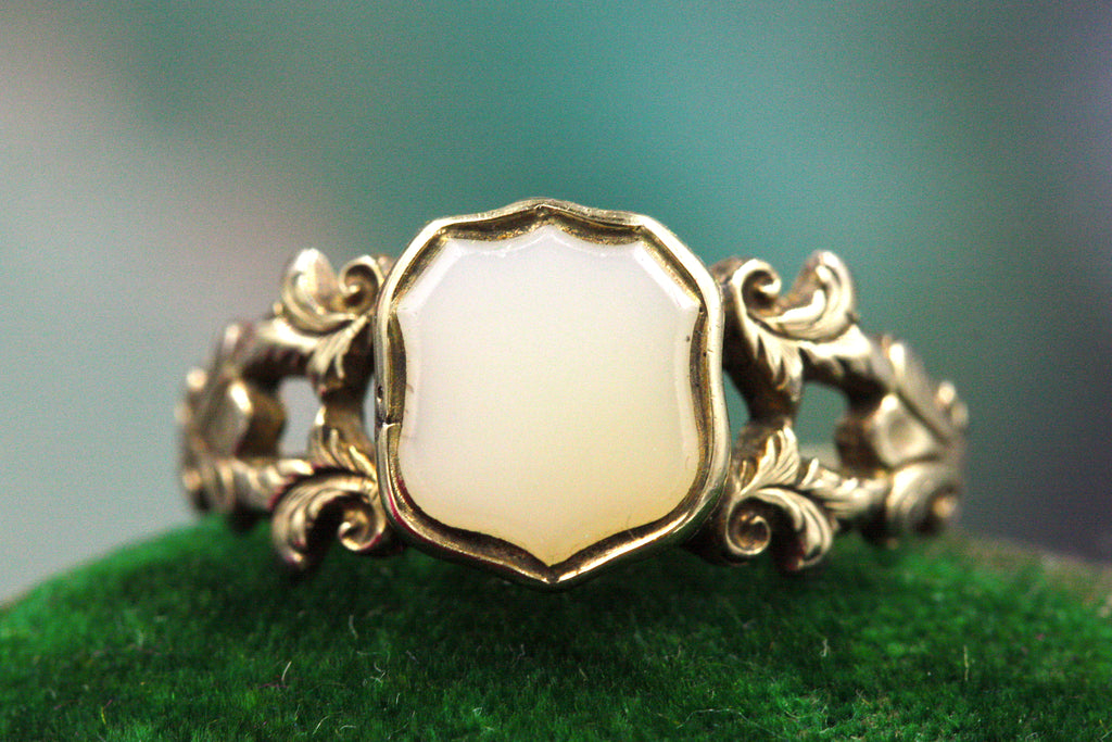 Victorian Chalcedony Shield Ring
