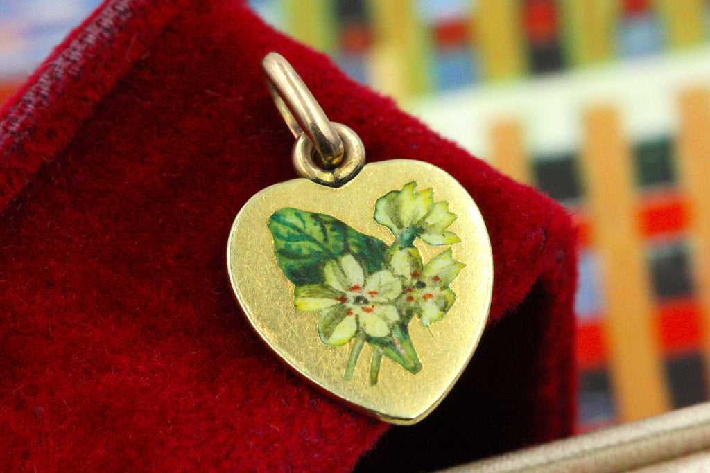 Antique Enamel Primrose Charm