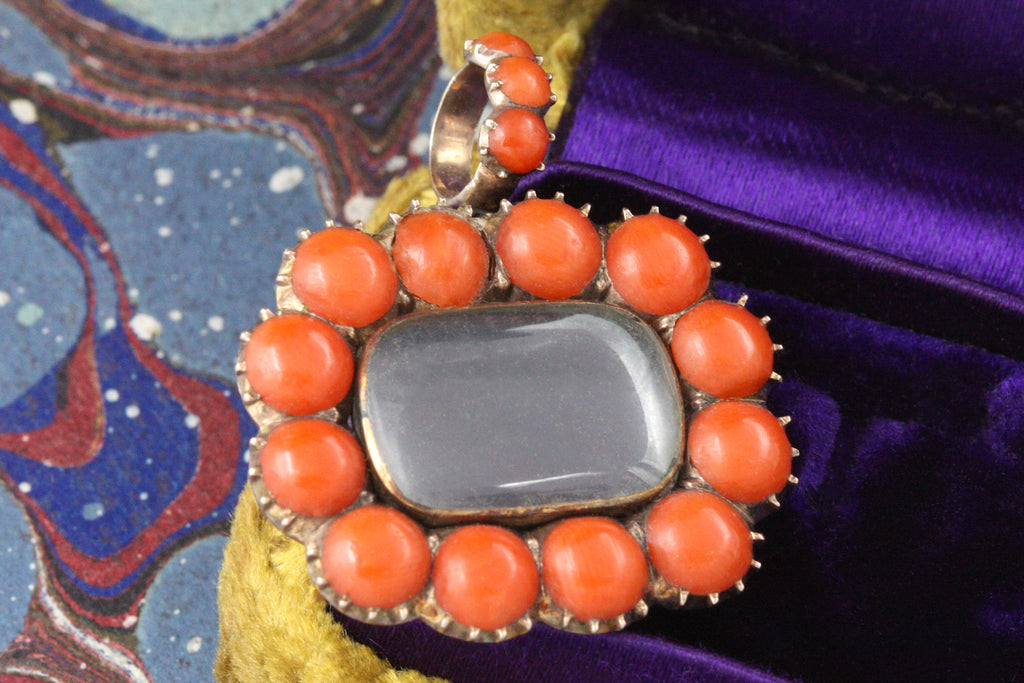 Georgian Coral & Rock Crystal Locket
