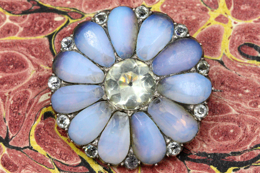 Georgian Opaline Floral Brooch