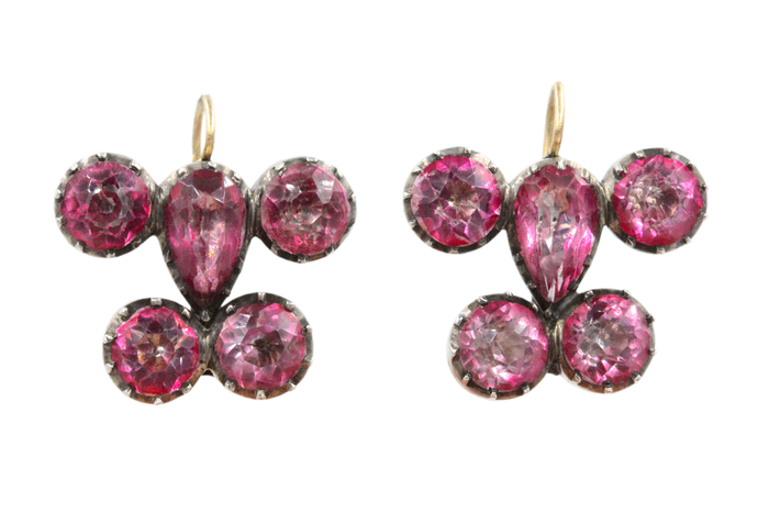Georgian Pink Paste Earrings
