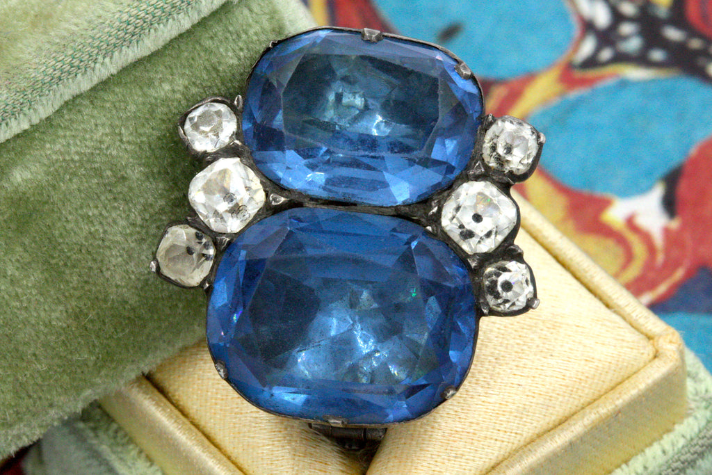 Georgian 'Queen Anne' Blue Paste Brooch