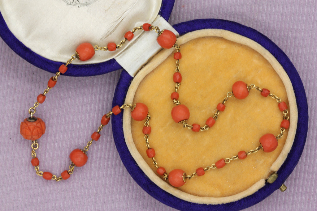 Victorian Coral Beaded Choker