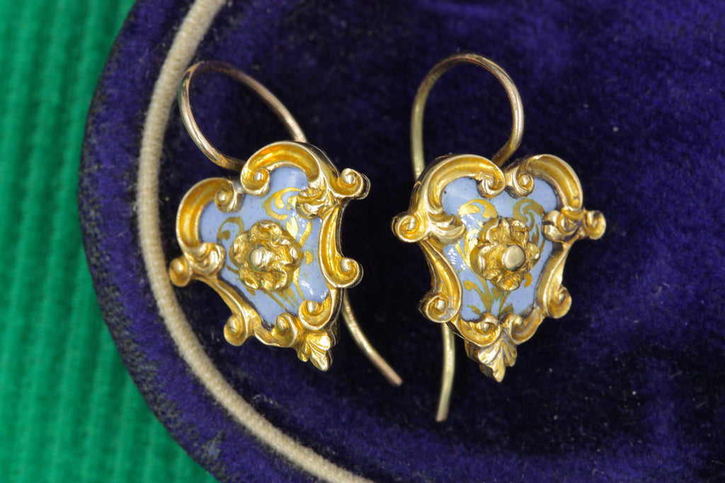 Victorian Rococo Enamel & Gold Earrings