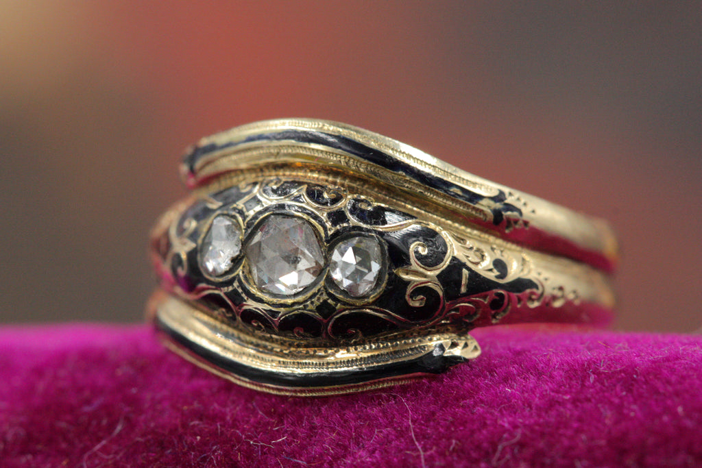 Victorian Diamond and Enamel Mourning Ring