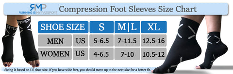 Compression Foot Socks Size Chart