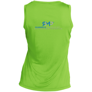 Running Is Cheaper Than Therapy Sport-Tek Ladies' Sleeveless Moisture Absorbing V-Neck
