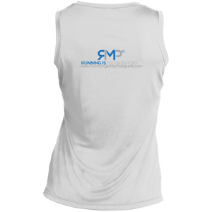 Running Is Cheaper Than Therapy White Sport-Tek Ladies' Sleeveless Moisture Absorbing V-Neck