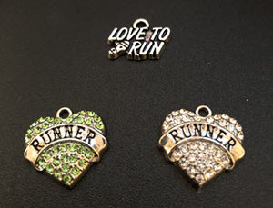 (3) Runner Charms (White & Green & Love to Run)