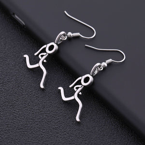 Silver Stick Figure Runner Necklace Earrings - Giveaway