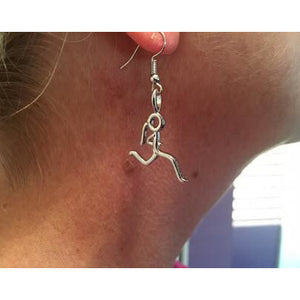 Silver Stick Figure Runner Necklace Earrings
