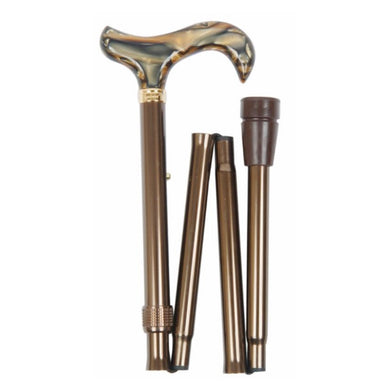 Classic Canes Folding Adjustable Derby with Brown Marbled Handle - HOHOLIFE