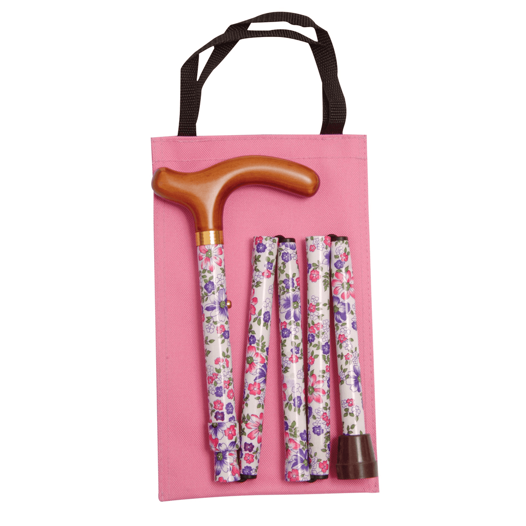 Classic Canes Pink, Purple and White Floral Handbag Folding Cane - HOHOLIFE
