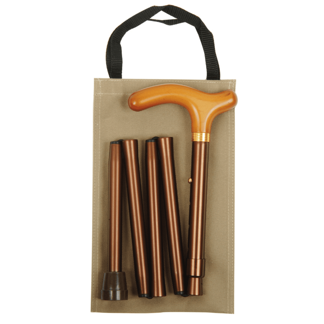 Classic Canes Wooden Handle Coffee Brown Folding Handbag Cane - HOHOLIFE