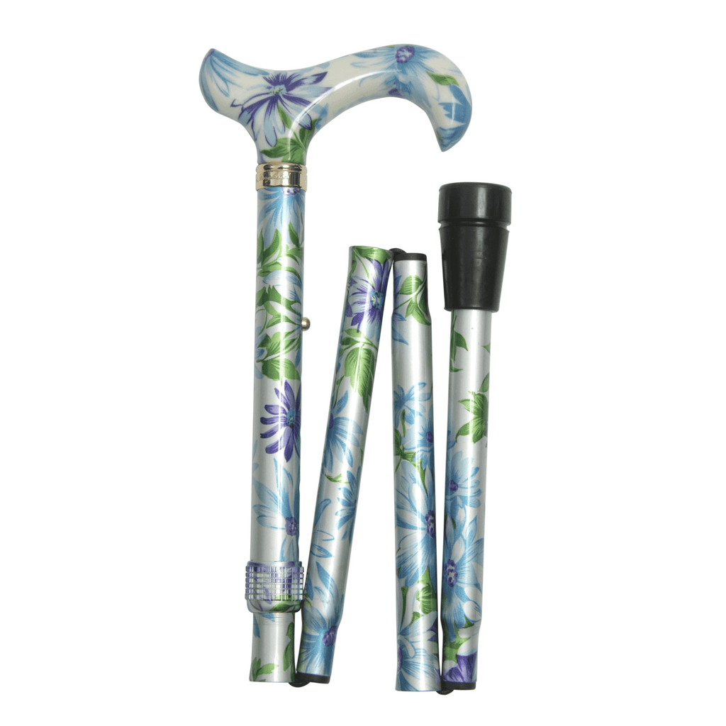 Classic Canes Blue and Green Floral Elite Folding Derby - HOHOLIFE