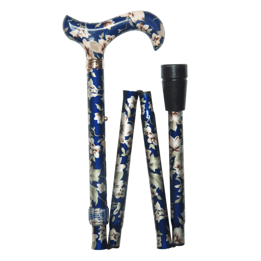 Classic Canes Dark Blue Floral Elite Folding Derby - HOHOLIFE