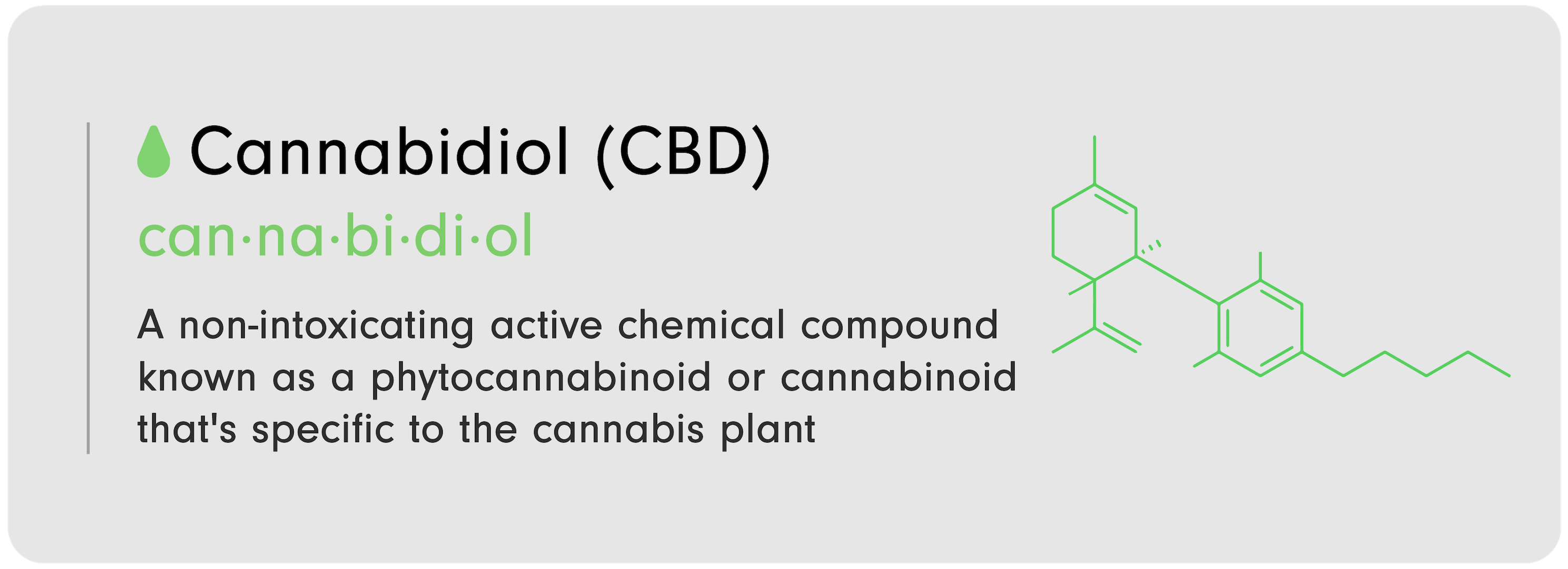 """C-D 101 infographic that reads, """"C----binoid (C-D): A non-intoxicating active chemical compound known as a phytoc----binoid or cannabinoid that's specific to the c----bis plant."""""""