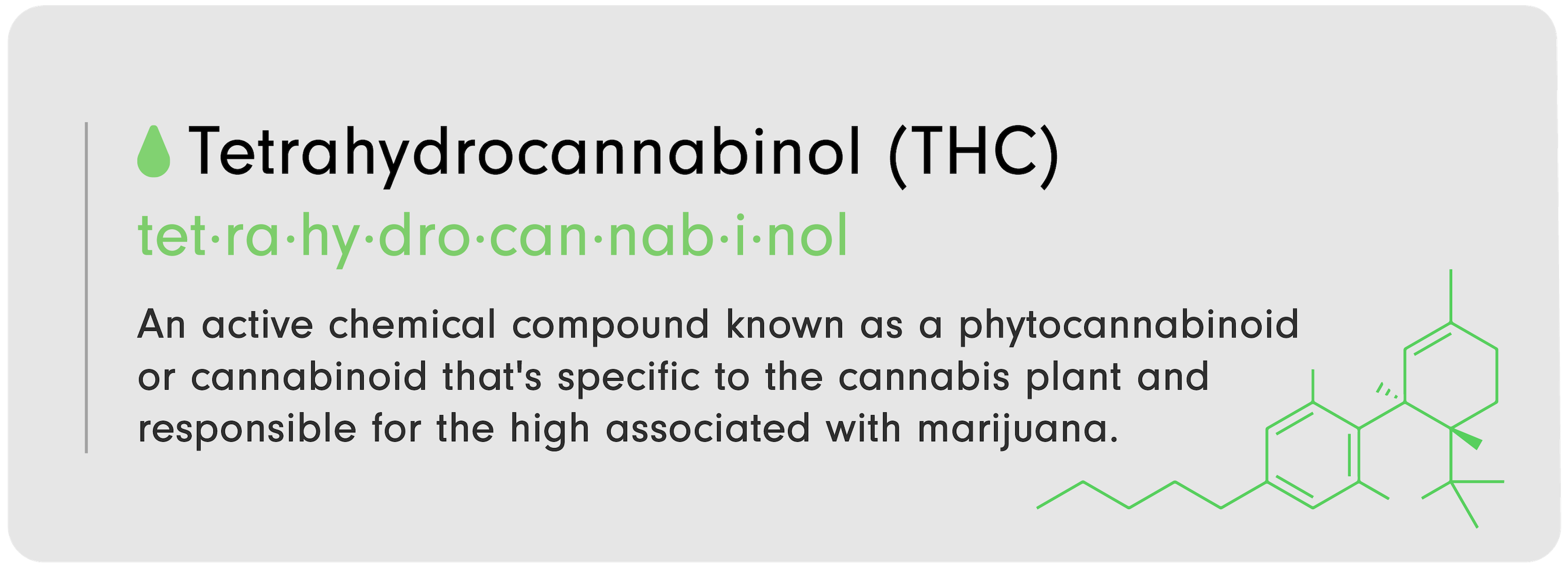 """C-D 101 infographic from LEVO that reads, """"Tetrahydrocannabinoil (T-C): An active chemical compound known as a phytocannabinoid or cannabinoid that's specific to the c----bis plant and responsible for the high associated with m----ana."""""""