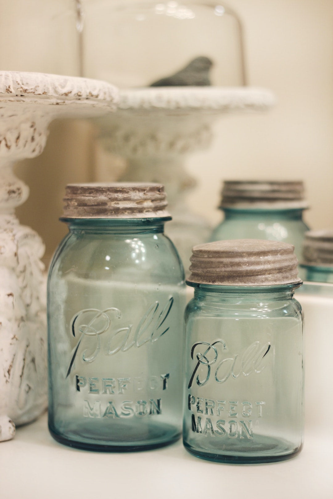 Image of mason jars for use in a DIY skincare routine with LEVO.