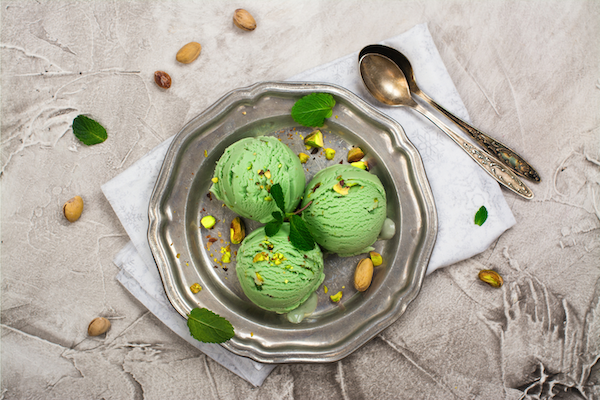 Image of one of many father's day desserts, the pistachio ice cream.