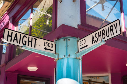 Street signs in San Francisco of Haight and Ashbury for 420 and 710