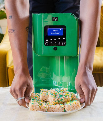 LEVO is an at-home kitchen appliance that infuses any herb into oil or butter. Use that butter and oil to make your own infused treats, like these rice krispy treats.