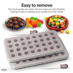 Easy to remove your gummies and candies in the food-grade non-stick silicone tray. Ultra flexible, making it easy to release your candy from the molds.