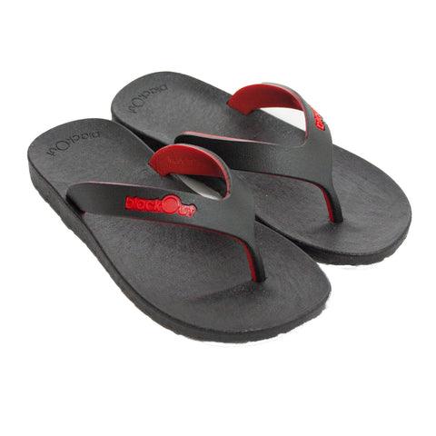 Kids Flippers Black x Black & Red