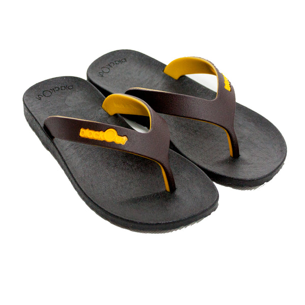 Kids Flippers Black x Brown & Yellow